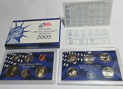 Usa America United States Kms Coinset Proof Set 2005 Inkl. State Quarters S Pp