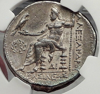 ALEXANDER III the GREAT 325BC Big Silver Tetradrachm Greek Coin NGC Ch XF i58292