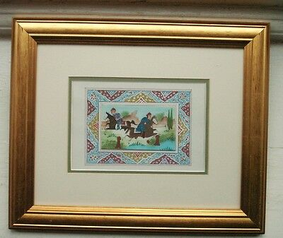 Old Vintage Moghul Watercolour Polo Horseman Miniature Painting Indian Framed