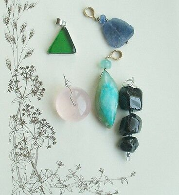 Old Vintage Sterling Silver and Gold & Silver Plated Turquoise Iolite Pendants