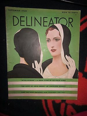 Vtg September 1930 Delineator Magazine-Gorgeous Deco Cover/ads/flapper Fashions