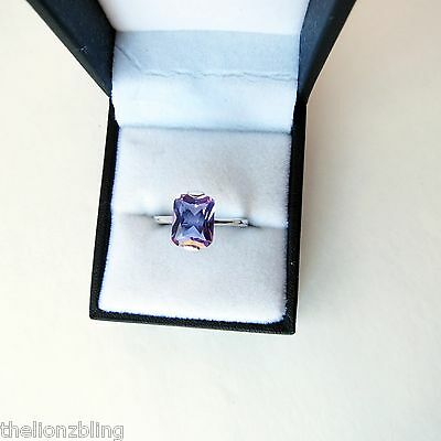 True Vintage Cocktail Solitaire Silver Plated Ring with faux Amethyst Size 7.75