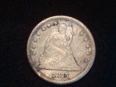 1875 Seated Liberty Quarter  G/vg
