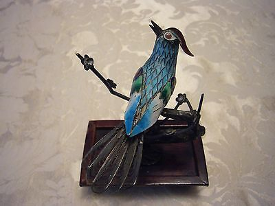 Antique Chinese Export Enamel Filigree Silver Bird Tree Statue on Stand