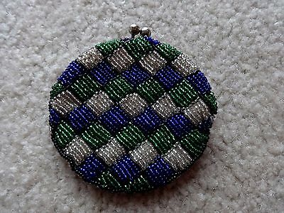 Vintage Seed Beaded Coin Change Purse Blue, Silver & Green Round