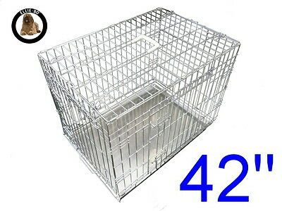 """Ellie-Bo 42"""" Extra Large Dog Puppy Pet Cage Folding Carrier Crate In Silver"""