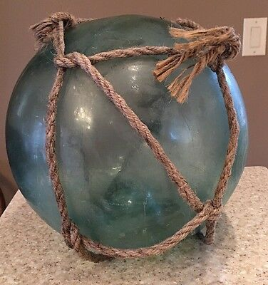 Vintage Japanese Glass Fishing Float Buoy With Net And Bubbles Marked