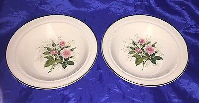 2 Hall HEATHER ROSE 5 1/8 Inch Fruit Berry Bowl Pink Roses Cottage 19887 Bowls