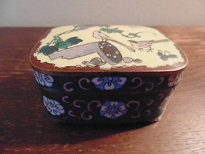 Antique Box Old Chinese Cloisonne Enamel Brass Covered Oriental Multi Color Flo