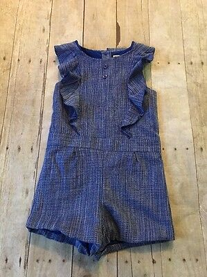 "Janie and Jack Girls Blue Romper ""Spring Gazebo"" Easter Size 5 EUC"