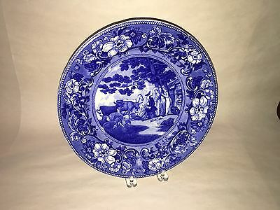 Historical Staffordshire Dark Blue Doctor Syntax Plate Drawing Nature Ca. 1900