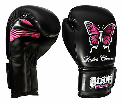 BOOM Prime Ladies Boxing Gloves Gel Punch Bag Womens MMA Mitts Martial Arts Thai