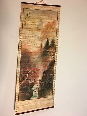Chinese Asian Style Roll Up Wall Hanging Mountain Scene Art On Bamboo