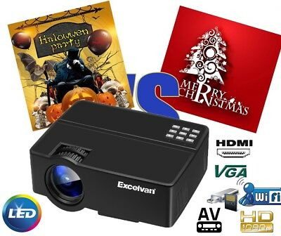 Excelvan 3000 Lumens LCD HD 1080P 4:3/16:9 Video Proiettore 1000:1 HDMI SD USB