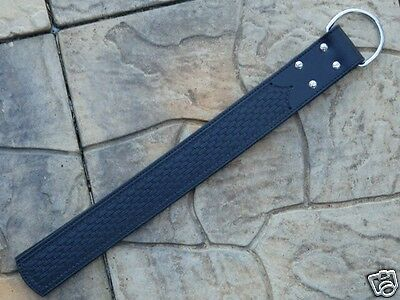 BLACK TOOLED LEATHER 2-Tongue STRAP TAWSE Belt w Large Metal D-Ring - HORSE TOOL