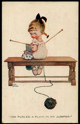 """Mabel Lucie Attwell - Postcard 1930 - """"I'se Purled A Plain In My Jumper"""""""