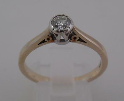 Boxed Ladies 9ct Yellow Gold .25ct Diamond Solitaire Ring - Size R/S (G3)