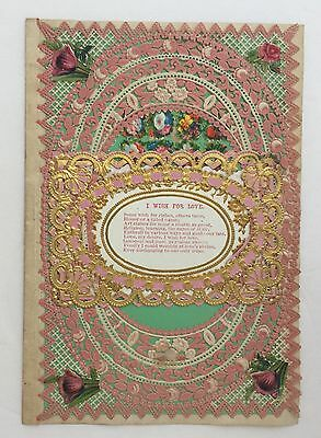Antique Victorian Paper Lace Gold Foil Die Cut Layered Valentine Love Poetry