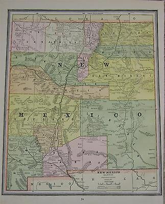 1887 New Mexico Antique Atlas Map** .. Colorado map on back ... 130 years-old!!