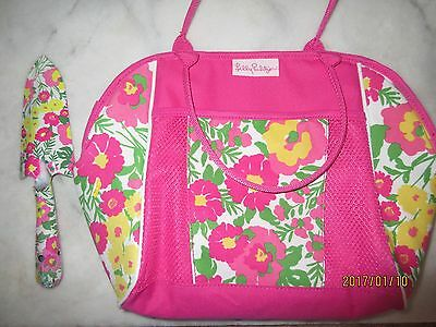 LILLY PULITZER floral gardening tools & tote bag NEW