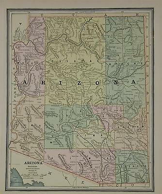 1887 Arizona Antique Color Atlas Map** .. Utah map on back ... 130 years-old!!
