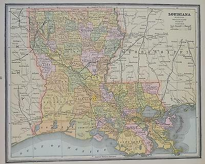 1887 Louisiana Antique Color Atlas Map** Mississippi map on back..130 years-old!