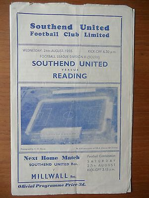 SOUTHEND UNITED v READING 1955-1956 Division 3 South