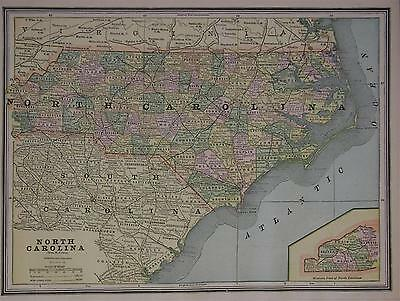 1887 North Carolina Antique Color Atlas Map**  ... 130 years-old!!