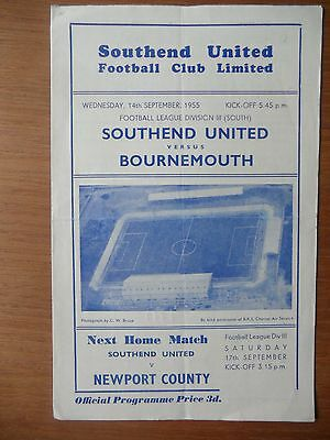 SOUTHEND UNITED v BOURNEMOUTH 1955-1956 Division 3 South