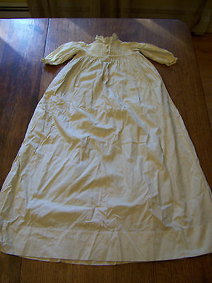 vntg Victorian 1898 Christening baby gown 100 %  heavy cotton embroidered bodice