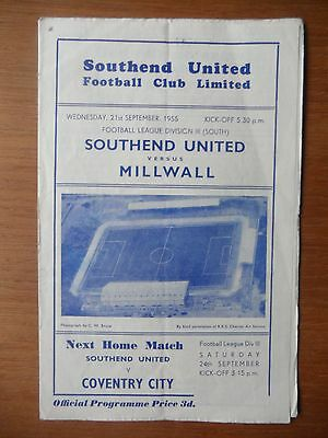 SOUTHEND UNITED v MILLWALL 1955-1956 Division 3 South