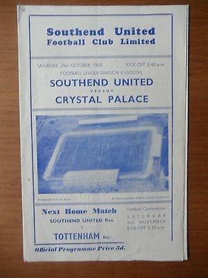SOUTHEND UNITED v CRYSTAL PALACE 1955-1956 Division 3 South