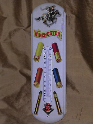 Vintage Antique Style Winchester Shotgun Rifle Shells Thermometer Tin Sign !!!