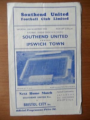 SOUTHEND UNITED v IPSWICH TOWN 1955-1956 Division 3 South