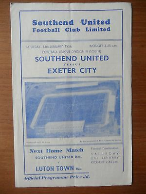 SOUTHEND UNITED v EXETER CITY 1955-1956 Division 3 South