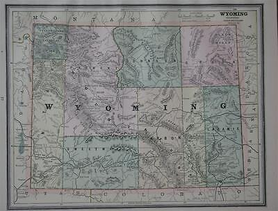 1887 Wyoming Antique Color Atlas Map** ...with area & Pop. .... 130 years-old!!