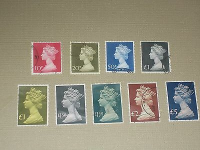 9  Machin  High  Value    Stamps   Used