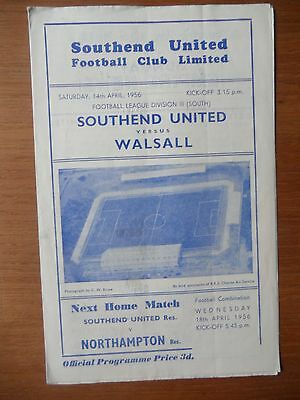 SOUTHEND UNITED v WALSALL 1955-1956 Division 3 South