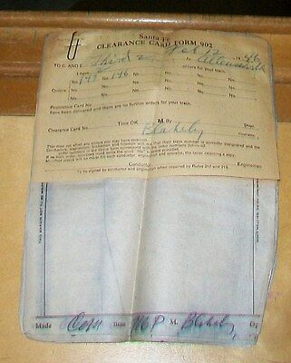 Santa Fe Clearance Card Forms & Train Order Carbon Copies Feb 12 1946