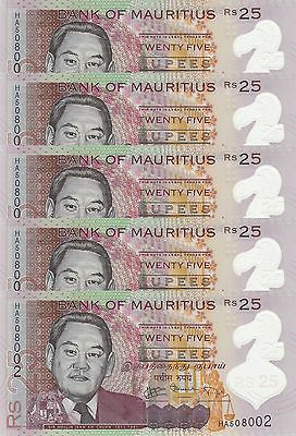 LOT, Mauritius 25 Rupees (2013) p64 Polymer x 5 Pieces UNC