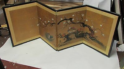 Small Antique Japanese Style Folding Screen Painting w Duck