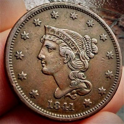 1841 U.s.a 1  Large Cent, Liberty Braided Hair (Excellent Coin)