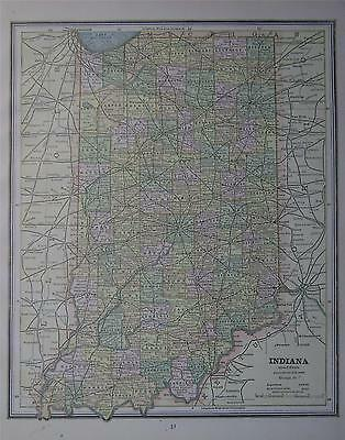 1887 Indiana Antique Color Atlas Map**  ... Original 130 years-old!!