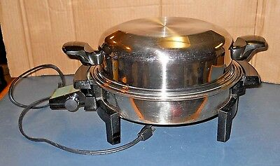 """Lifetime Liquid Core Stainless Steel Electric Frying Pan Skillet 11"""" Dome Lid"""