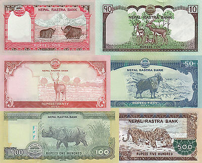 Nepal 6 Note Set - 5 to 500 Rupees (2012), p69-p74