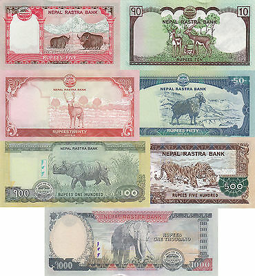 Nepal 7 Note Set - 5 to 1000 Rupees (2012/2013), p69-p75