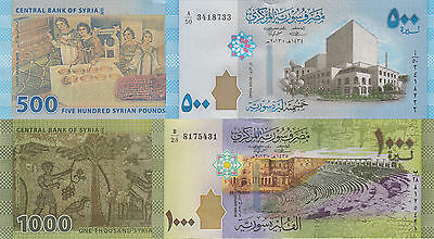 Syria 2 Note Set: 500 and 1000 Pounds (2013) - p115 & p116 UNC