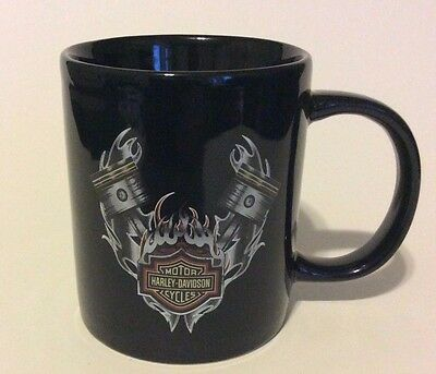 Harley Davidson Motor Cycles Black Coffee Mug with V-Twin Pistons and Rods 2009