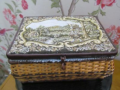 Vintage Wicker 1950/60s Sewing Basket Box With Tapestry Top.
