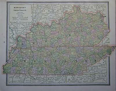 1887 Kentucky & Tennessee Antique Color Atlas Map**  ...Original 130 years-old!!
